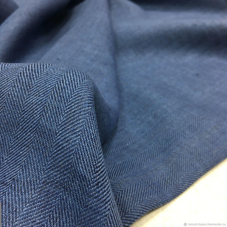 Итальянская ткань Костюмно-плательный лен елочка синий 17-5352, Ткани, Казань,  Фото №1