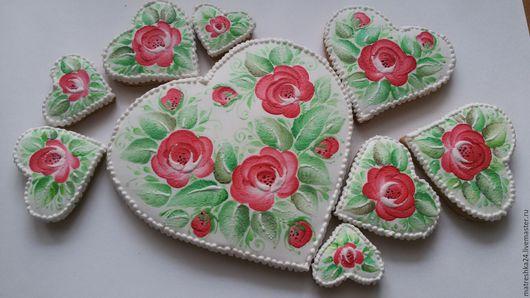 Кулинарные сувениры ручной работы. Ярмарка Мастеров - ручная работа. Купить Набор сердечек с красными розами. Handmade. Комбинированный, яйца
