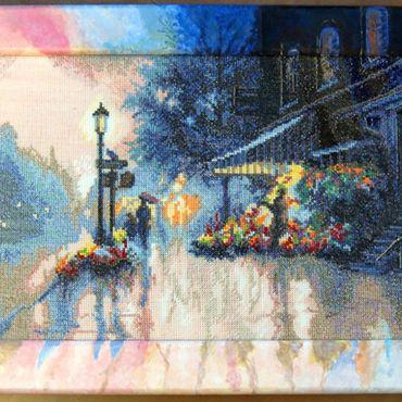 """Картины и панно ручной работы. Ярмарка Мастеров - ручная работа Вышитая картина """"Утро в Париже"""". Handmade."""