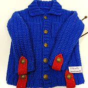 Одежда handmade. Livemaster - original item Children`s knitted jacket with collar and pockets. Handmade.