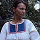 """Одежда ручной работы. Заказать Платье """"Сине-белое"""". СЛАВный стиль от Заряны. Ярмарка Мастеров. Одежда из льна, народный костюм"""