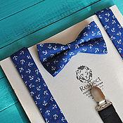 Аксессуары handmade. Livemaster - original item Tie Suspenders Frigate / Navy anchors bow tie and suspenders. Handmade.