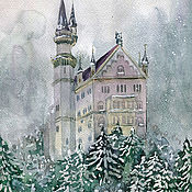 Картины и панно handmade. Livemaster - original item Pictures: Bavarian Neuschwanstein castle. Watercolor. Handmade.