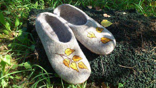 """Обувь ручной работы. Ярмарка Мастеров - ручная работа. Купить """"Осень. Берёза"""". Handmade. Домашние тапочки, подарок мужчине"""
