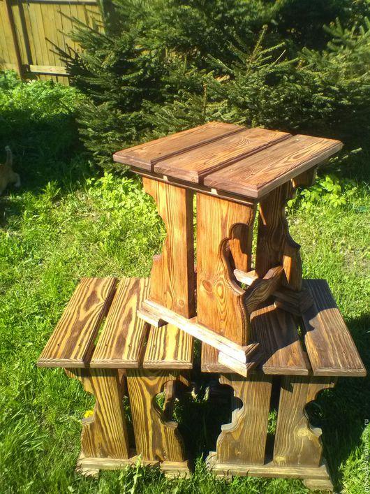 Мебель ручной работы. Ярмарка Мастеров - ручная работа. Купить Табурет резной. Handmade. Коричневый, деревянный, натуральное дерево, браширование