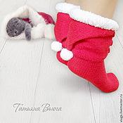 Аксессуары ручной работы. Ярмарка Мастеров - ручная работа Счастливое Рождество. Носки вязаные, шерстяные, подарок ручной работы. Handmade.