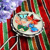 """Шпилька ручной работы. Ярмарка Мастеров - ручная работа Шпилька для волос """"Баттерфляй """" - флорентийская мозаика, серебро. Handmade."""