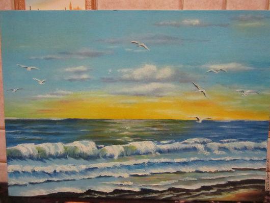 Пейзаж ручной работы. Ярмарка Мастеров - ручная работа. Купить морской пейзаж с чайками. Handmade. Голубой, морская волна, чайки