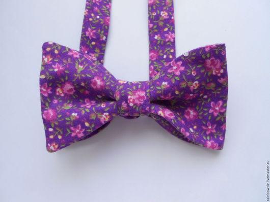 Галстуки, бабочки ручной работы. Ярмарка Мастеров - ручная работа. Купить Самовяз фиолетовый в цветочки. Handmade. Фиолетовый, галстук-бабочка