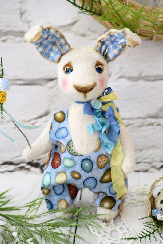 Мишки Тедди ручной работы. Ярмарка Мастеров - ручная работа. Купить Голубоглазый кроля. Handmade. Пасхальный кролик, заяц в одежде