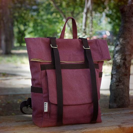 Рюкзаки ручной работы. Ярмарка Мастеров - ручная работа. Купить Большой рюкзак из канваса. Handmade. Однотонный, городской рюкзак, минимализм