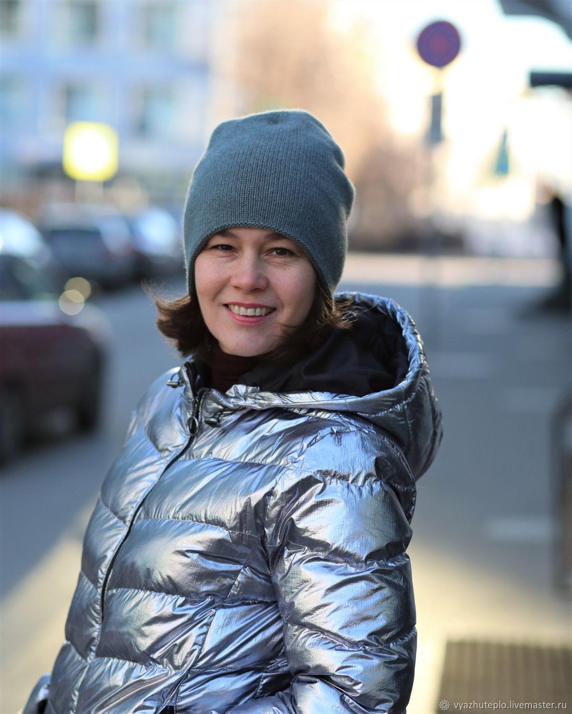 Шапка вязаная кашемировая Зимний свет двойная, Шапки, Москва,  Фото №1