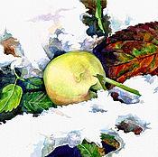 """Картины и панно ручной работы. Ярмарка Мастеров - ручная работа Акварель """"Яблоко на снегу №3"""".. Handmade."""