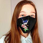 Аксессуары handmade. Livemaster - original item Mask with embroidery Spring. Handmade.