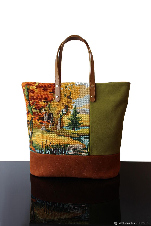 Vintage Canvas Рыжая замшевая сумка с винтажной вышивкой, Сумки, Бордо, Фото №1