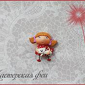"""Украшения ручной работы. Ярмарка Мастеров - ручная работа Феечка-брошка """"Девочка с котиком"""". Handmade."""