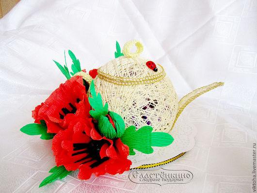 Подарочные наборы ручной работы. Ярмарка Мастеров - ручная работа. Купить Чайник с конфетами. Handmade. Лимонный, чайник, маки