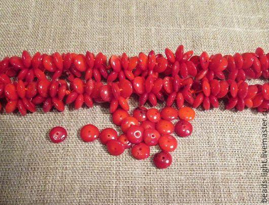 Материалы для творчества. для украшений. бусины - Коралл красный рондель - диск. Ярмарка мастеров.