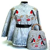 """Одежда ручной работы. Ярмарка Мастеров - ручная работа Пончо  и сумка """"Снегири"""".. Handmade."""