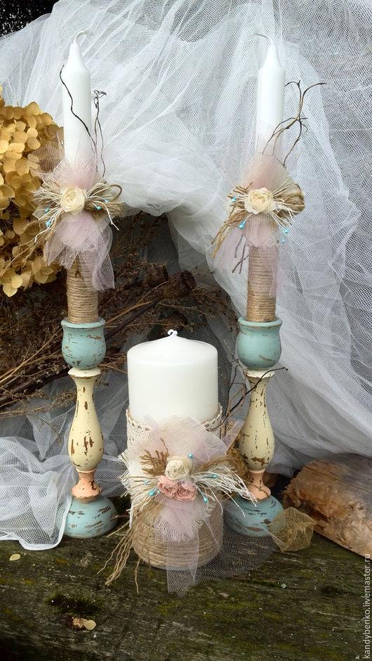 Свадебные аксессуары ручной работы. Ярмарка Мастеров - ручная работа. Купить Свадебный набор свечей-Семейный Очаг. Handmade. Комбинированный