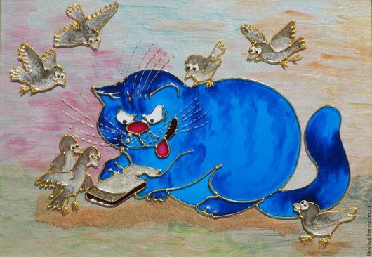 Животные ручной работы. Ярмарка Мастеров - ручная работа. Купить Игроман. Синие коты Рины Зенюк. Витражная картина. Бесплатная доставка. Handmade.