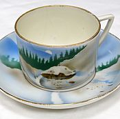Винтаж handmade. Livemaster - original item Tea pair from the set Winter Dulyovo f-ka True 1920s. Handmade.