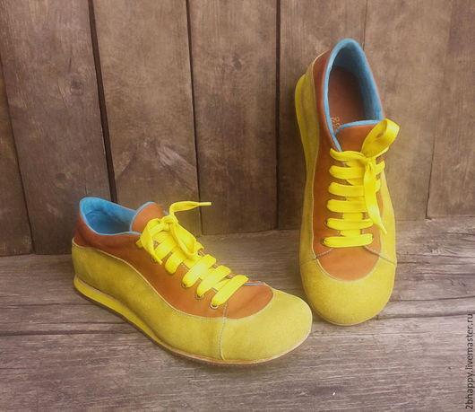 Обувь ручной работы. Ярмарка Мастеров - ручная работа. Купить Кожаные кроссовки ВАТСОН. Handmade. Желтый, коричневый цвет