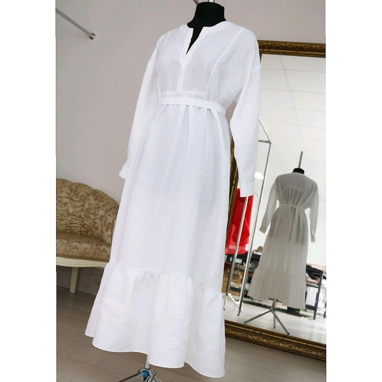 Платья ручной работы. Ярмарка Мастеров - ручная работа. Купить Льняное платье белого цвета. Handmade. Платье, платье из льна