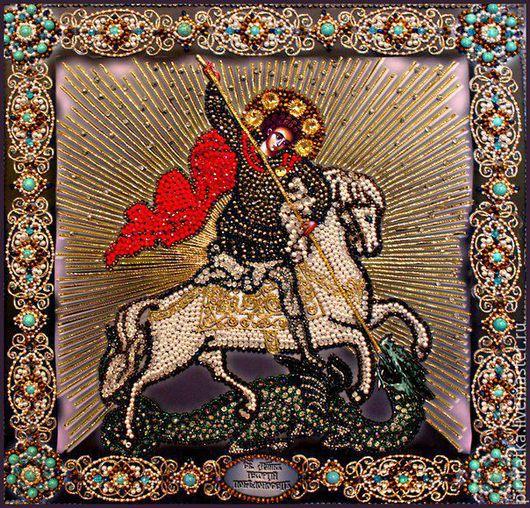 Набор `Образа в каменьях` икона Святой Георгий Победоносец на коне