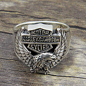 Украшения handmade. Livemaster - original item Men`s Harley Davidson ring of silver 925 with an eagle. Handmade.