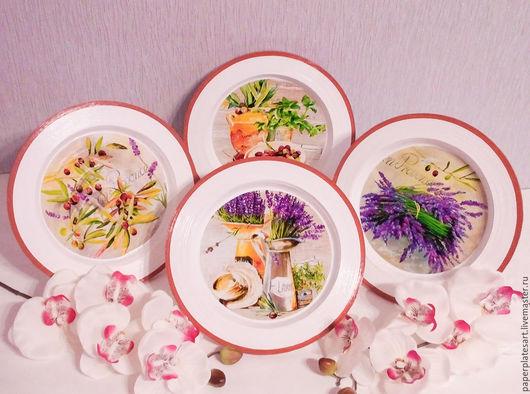 Тарелки ручной работы. Ярмарка Мастеров - ручная работа. Купить Прованский стиль, набор из 4-х тарелочек. Handmade. Комбинированный