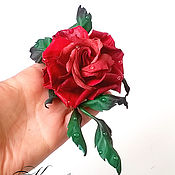 Украшения handmade. Livemaster - original item Red rose flower Brooch leather decoration leather. Handmade.