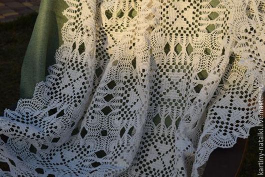 Текстиль, ковры ручной работы. Ярмарка Мастеров - ручная работа. Купить Вязаная скатерть Уютный дом. Handmade. Белый