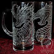 Посуда handmade. Livemaster - original item Two dragons. Beer mugs. Handmade.