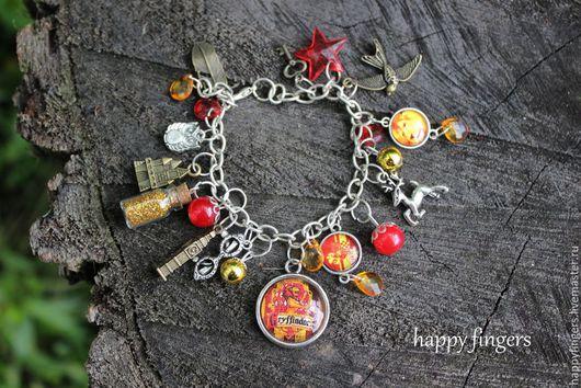 """Браслеты ручной работы. Ярмарка Мастеров - ручная работа. Купить Браслет """"Гриффиндор"""" Гарри Поттер Harry Potter красный золотой. Handmade."""