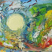 """Картины и панно ручной работы. Ярмарка Мастеров - ручная работа Картина маслом """"Мозаика лунного света"""". Handmade."""