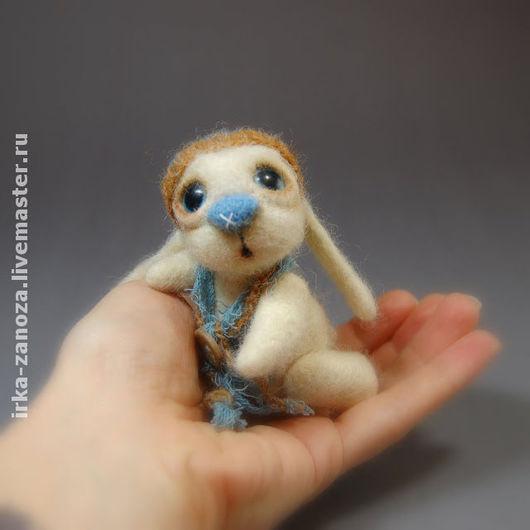 Игрушки животные, ручной работы. Ярмарка Мастеров - ручная работа. Купить Авторская игрушка из шерсти - (миник) - зайчонок. Handmade. Миник