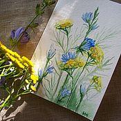 Открытки handmade. Livemaster - original item Postcard Chicory and tansy... watercolor.. Handmade.
