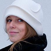 Аксессуары handmade. Livemaster - original item the Cloche hat white velour. Handmade.