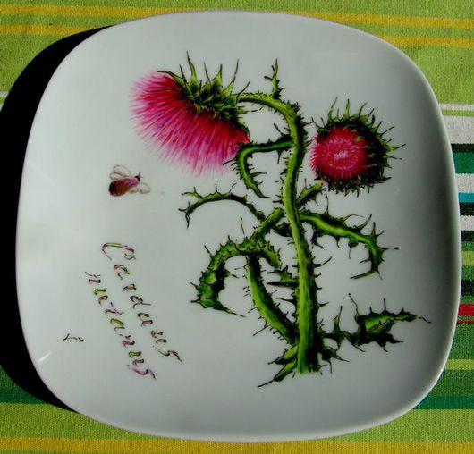 """Тарелки ручной работы. Ярмарка Мастеров - ручная работа. Купить Тарелка """"Чертополох поникающий"""". Handmade. Цветы, цветок, фарфор, обжиг"""