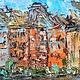 индивидуальный заказ на картину маслом старые европейские города, старые европейские дома, цветные дома нюхавн NYHAVN, скандинавия северная европа, купить заказать картину у художника Марина Маткина