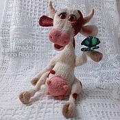 """Куклы и игрушки handmade. Livemaster - original item Игрушка из шерсти """"Зорька с бабочкой"""". Handmade."""