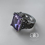Украшения handmade. Livemaster - original item Men`s ring with amethyst and CZ. 925 sterling silver.. Handmade.