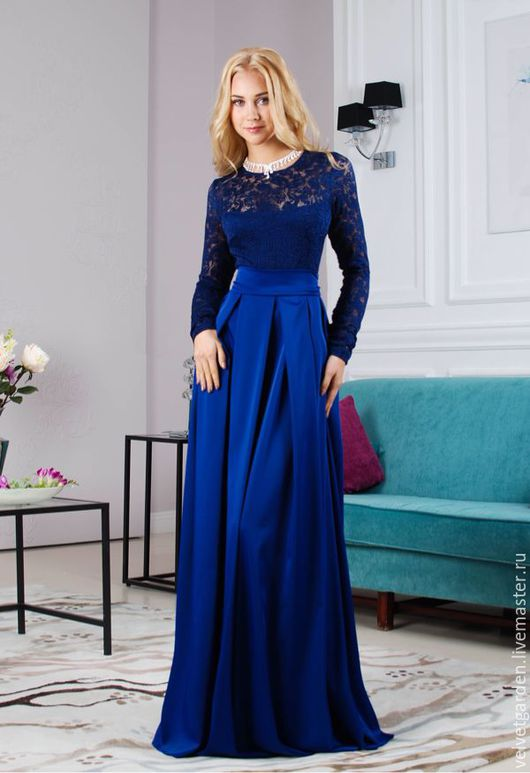 Платья ручной работы. Ярмарка Мастеров - ручная работа. Купить Платье синее вечернее в пол Торжественный вечер. Handmade.