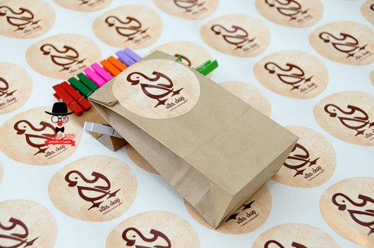 Упаковка ручной работы. Ярмарка Мастеров - ручная работа. Купить Наклейки с логотипом / на заказ. Handmade. Бежевый крафт-пакет