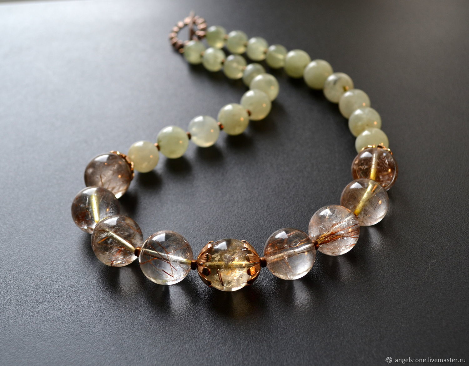 Charms, Talismans & Amulets handmade. Livemaster - handmade. Buy Necklace with rutile quartz and prehnite.Silver