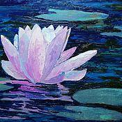 """Картины ручной работы. Ярмарка Мастеров - ручная работа """"Лотос розовый"""" картина с лотосом на воде. Handmade."""