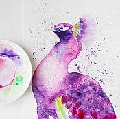 """Картины и панно ручной работы. Ярмарка Мастеров - ручная работа Акварель """"Павлин"""". Handmade."""