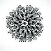Материалы для творчества handmade. Livemaster - original item Hot decal for enamel painting (enamel),porcelain FLOWER MONOCHROME. Handmade.