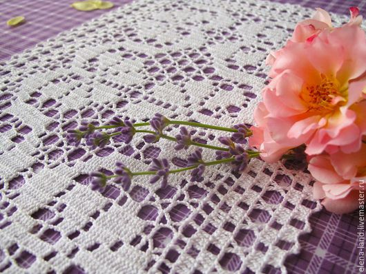 Текстиль, ковры ручной работы. Ярмарка Мастеров - ручная работа. Купить Цветочная дорожка. Handmade. Белый, филейная дорожка
